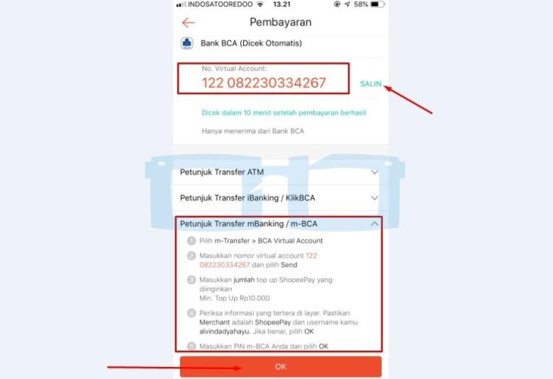Salin Nomor Virtual Account Shopee BCA