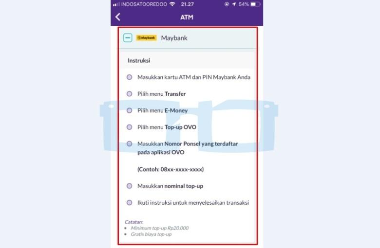 Cara Top Up OVO lewat ATM Maybank