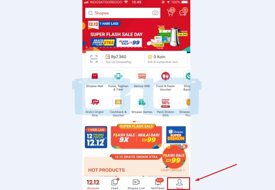 Pilih Menu Saya Buka Aplikasi dan Login Akun Shopee untuk Mengubah Username Shopee