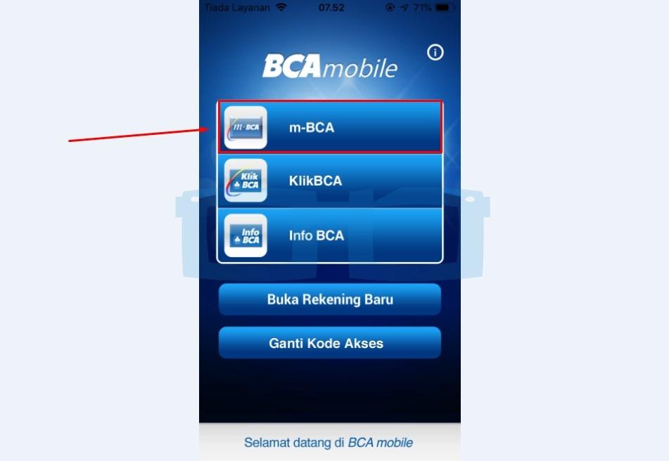 Pilih Menu m BCA untuk Top Up Link Aja