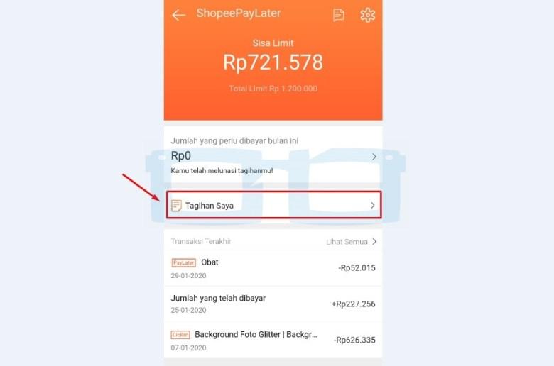 Pilih Tagihan Saya untuk Membayar Tagihan Shopee Paylater