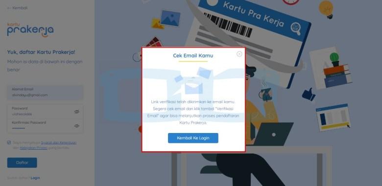 Cek Email untuk Daftar Kartu Pra Kerja