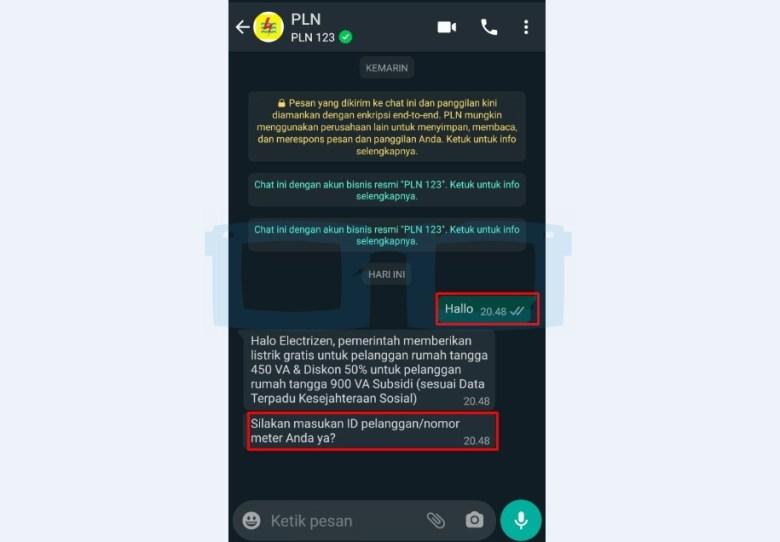 Chat dengan WA PLN