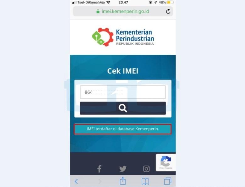 IMEI Terdaftar di Kemenperin