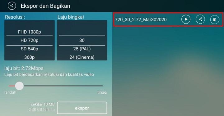 Simpan Ekspor atau Bagikan Video