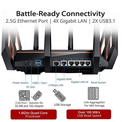 ASUS ROG Rapture AX11000 Tri Band 10 Gigabit WiFi Router Aimesh Compatible for Mesh WIFI System Next Gen Wifi 6 Wireless 802.11Ax GT AX11000