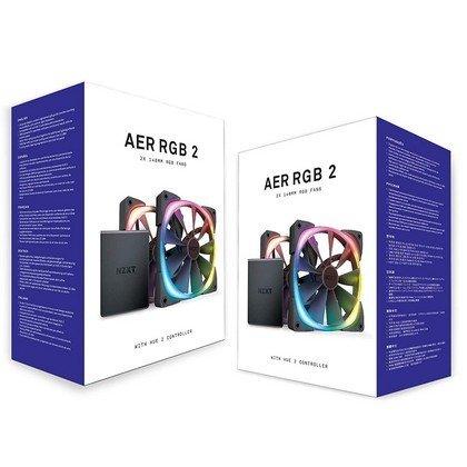 NZXT AER RGB 2 140 MM Twin Starter Fan Dual Pack Hue 2 Controller