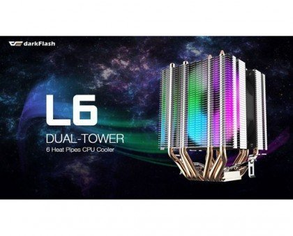 darkFlash 6 Heat Pipes Twin Tower Heatsink with 90mm Rainbow Fans L6 CPU Air Cooler