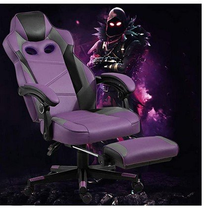Mahmayi 458 Raven High Back Black Violet Video Gaming Chair with PU Leatherette 2