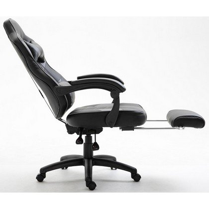 Ultimate Grey Racing Style Gaming Chair with Footrest PU Leatherette 2
