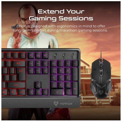 Vertux Orion Backlit Ergonomic Wired Gaming Keyboard Mouse 4