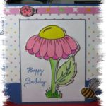 Flower, Bee and Ladybug card and digital stamps