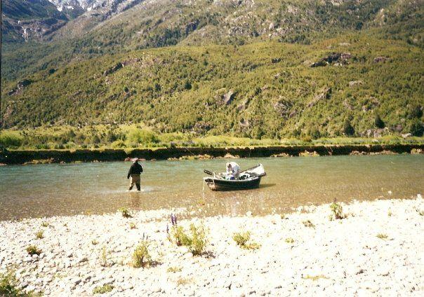 A drift boat on a Chilean stream