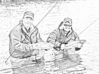 Two fly fishermen holding trout side by side in a stylized pencil drawing