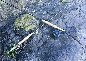 Two fly reels and rods lying across a rock - I am going to break this down into a one thing question. Does the reel do what you need it to effectively and easily? This starts and ends with the guts of the reel itself, its drag system. Most reels are usual one of two types these days, a modern disc drag or the eternal spring and pawl drag(although the Galvan Brookie has a unique drag system that I love for my light rods).