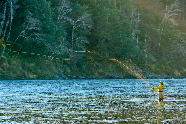 Peacefully Spey casting for steelhead