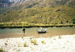 A drift boat on a Chilean stream