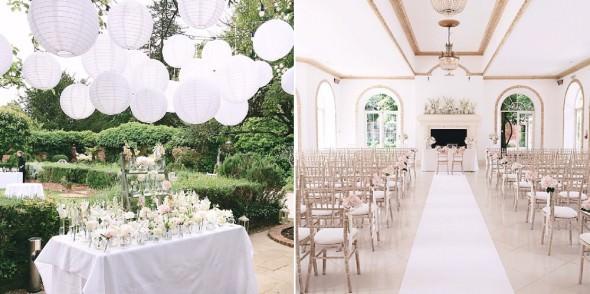 northbrook park wedding cermemony and hanging lantern escort card table