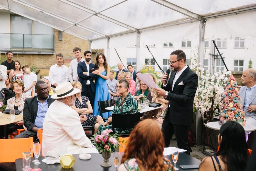 groom giving speech at London wedding Dock Kitchen