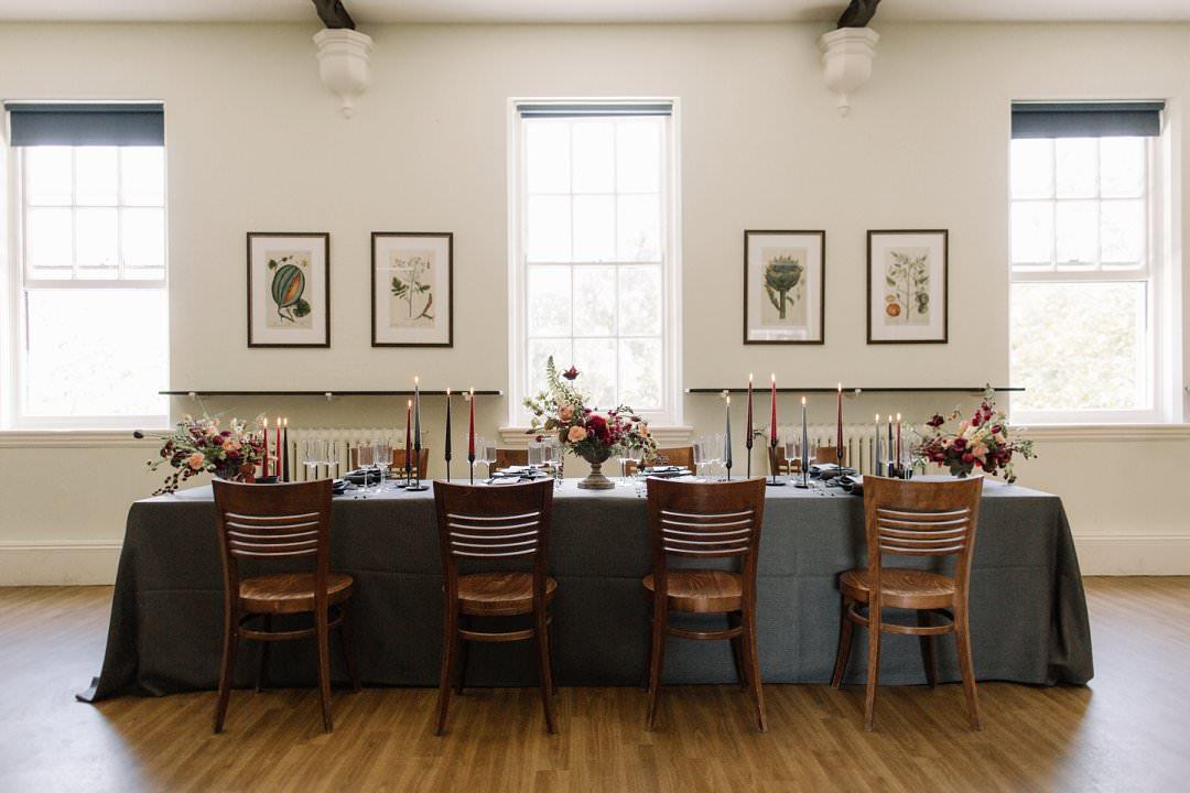 wedding dinner tablescape modern styling