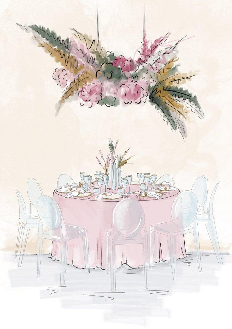 sketch of hanging dried flower arrangement wedding tablescape
