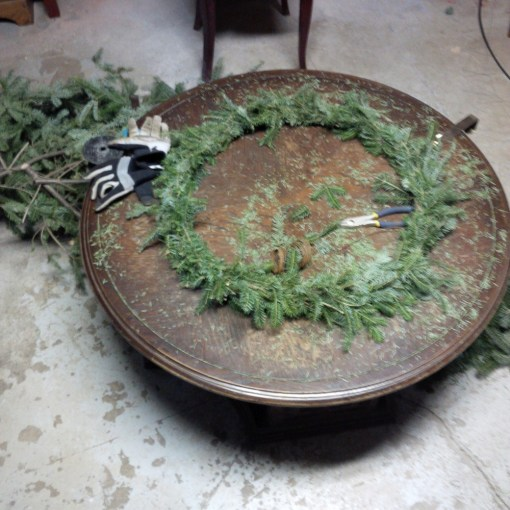 Attempting to make a Christmas wreath.