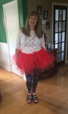 Dressed in a tutu to meet Suzanne at the airport