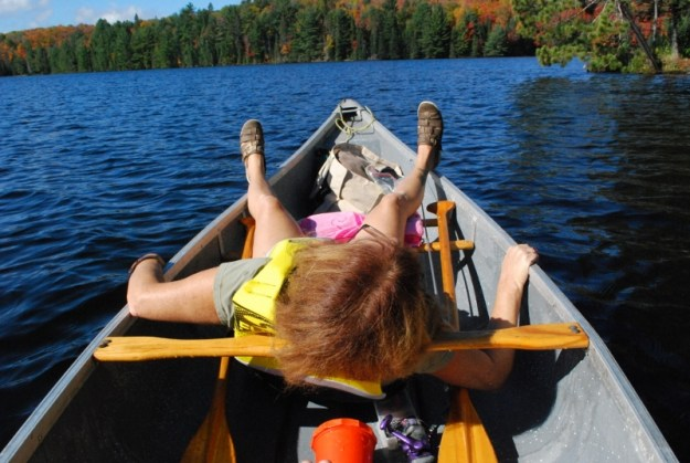 Laying down in the canoe because I fell backwards.