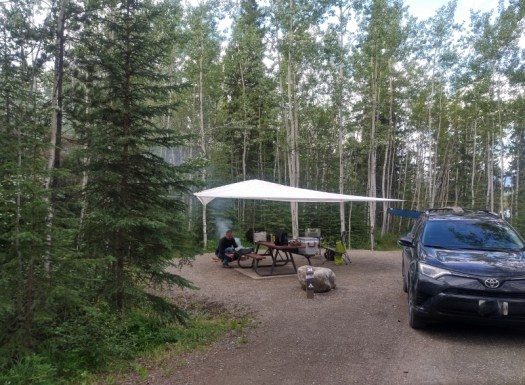 View of our campsite at Boya Lake Provincial Park.