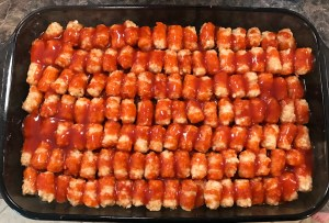 Taco Tater Tot Casserole ready for oven.