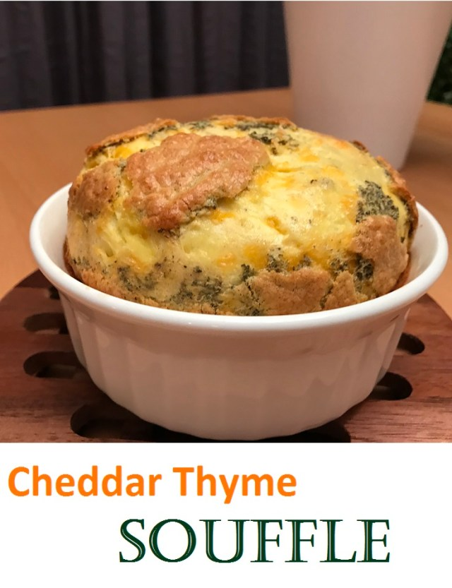 Easy to make cheddar cheese and thyme souffle.