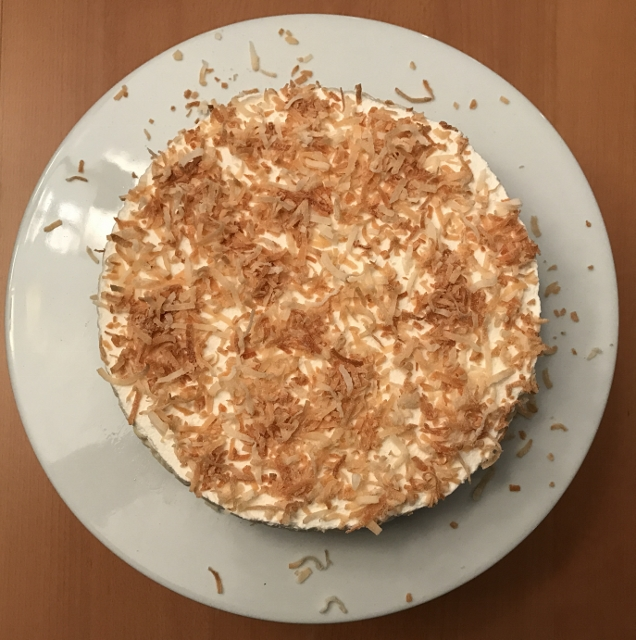 Top view of coconut cheesecake