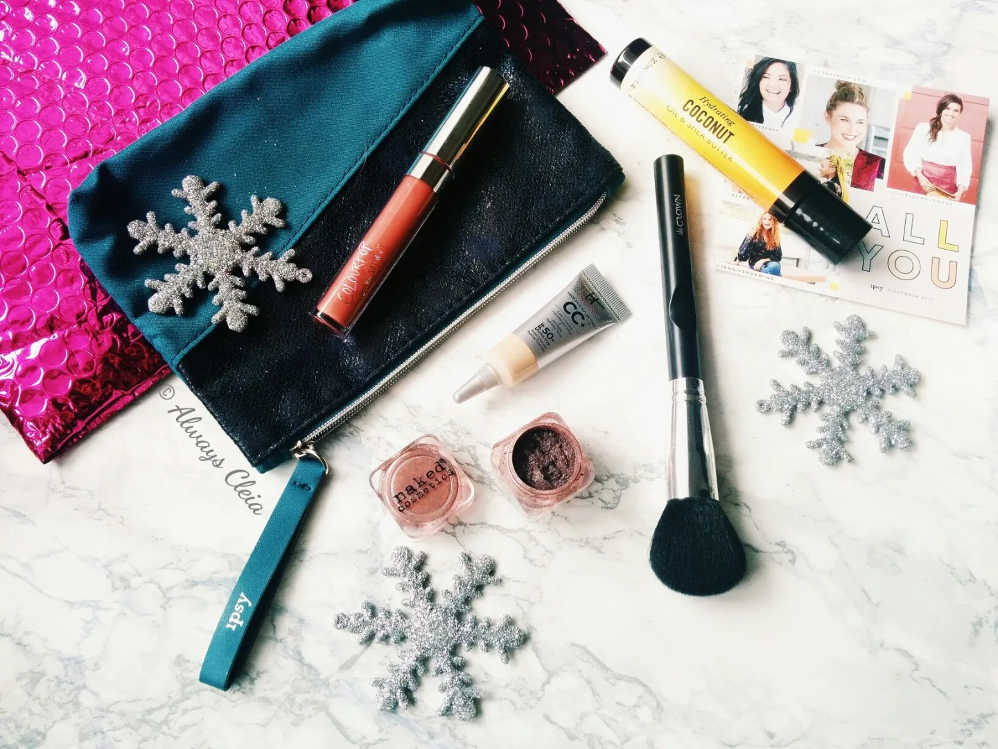 Ipsy November 2017 Glam Bag Flatlay