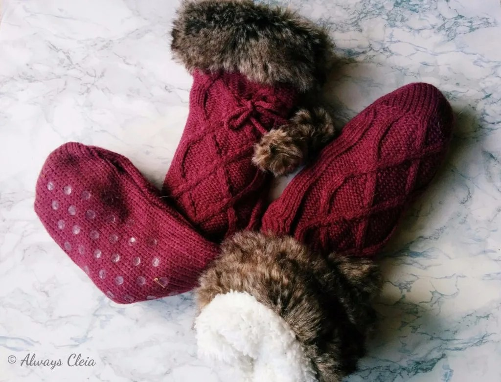 Just Fab Fur Pom Pom Socks