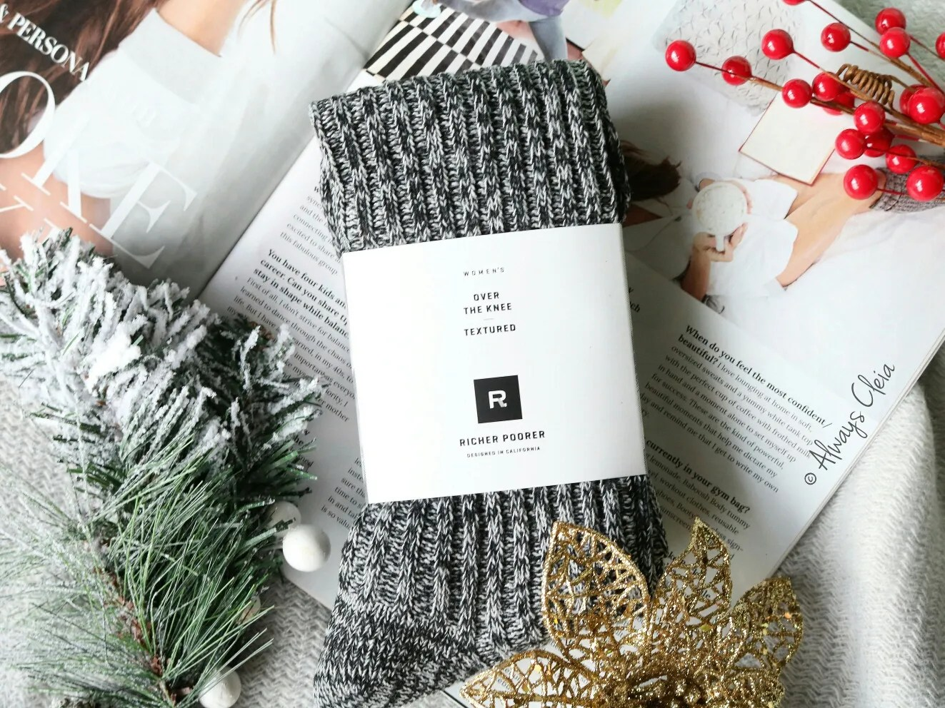 Fabfitfun Winter Box Richer Poorer Reina Over the Knee Textured Sock