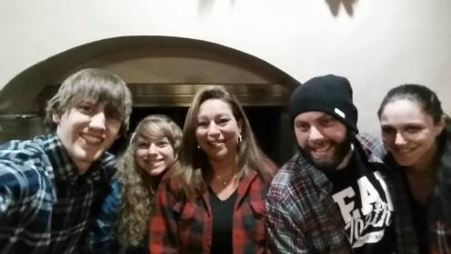 Husband Hans, Me, Mom Michele, Brother Jesse, and Brother's Girlfriend Sophia.