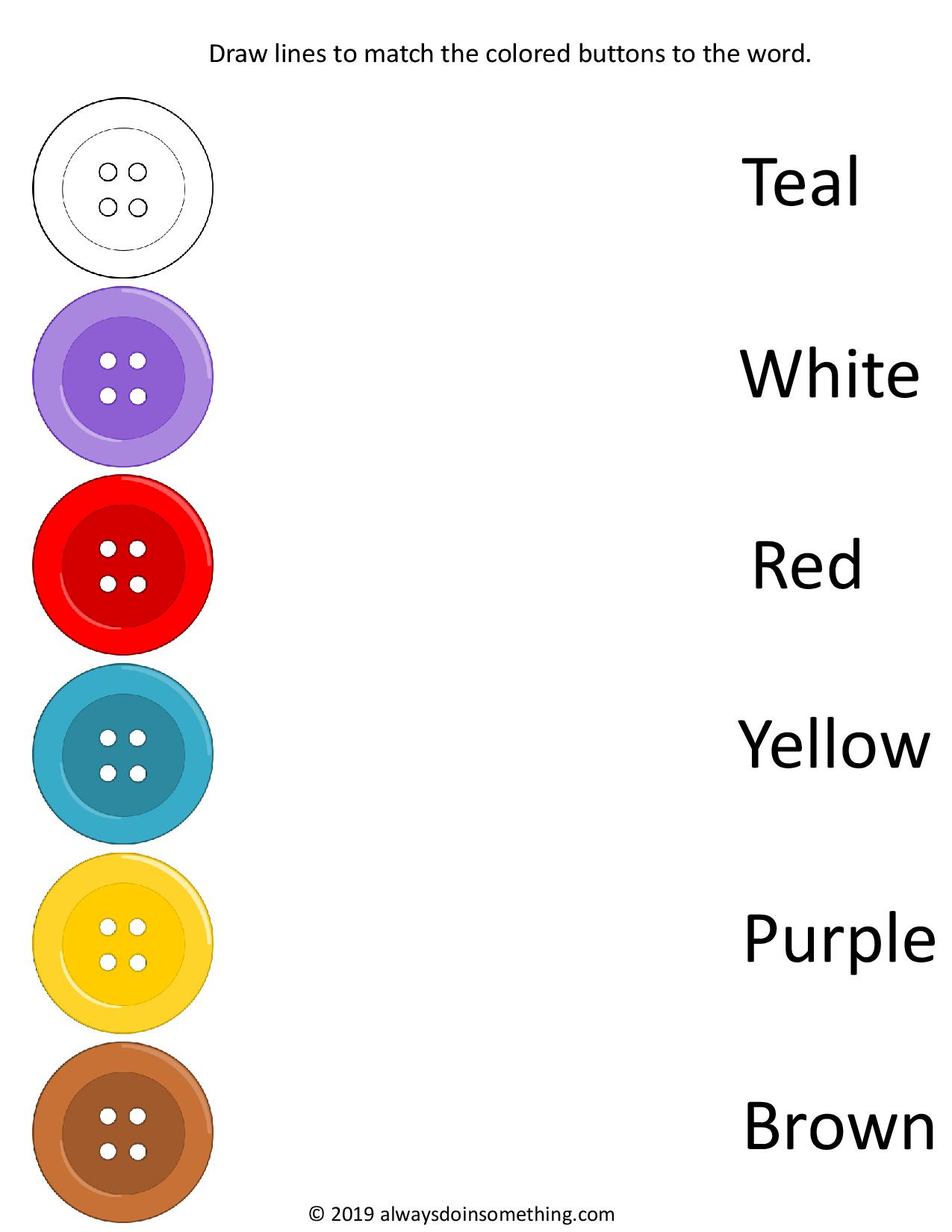Free Button Color To Color Word Worksheets