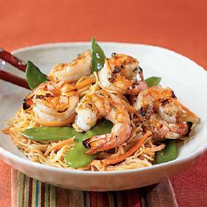 Orange-Sesame Noodles with Grilled Shrimp