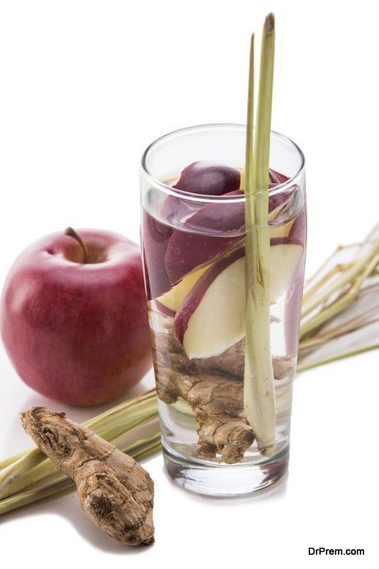 infused water mix of apple, ginger and lemongrass isolated