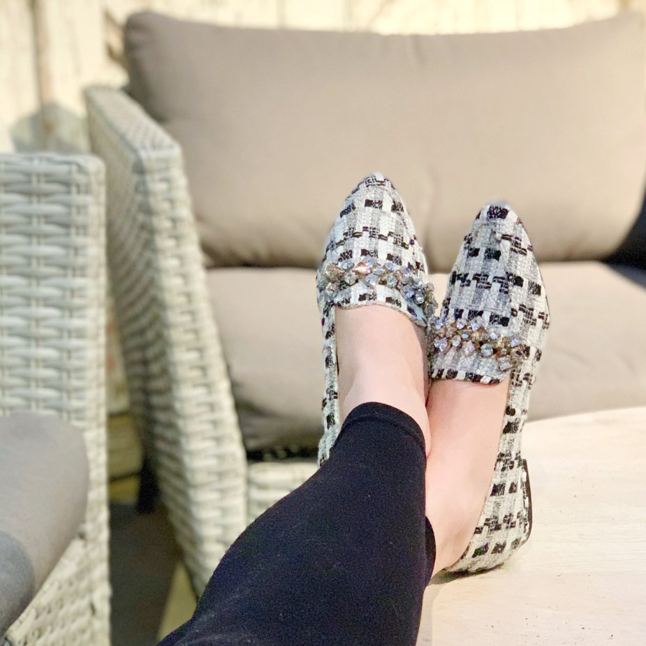 Black and white jeweled tweed loafer shoes