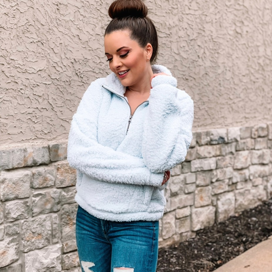 January Favorites - Abercrombie Sherpa Light Blue and ripped jeans