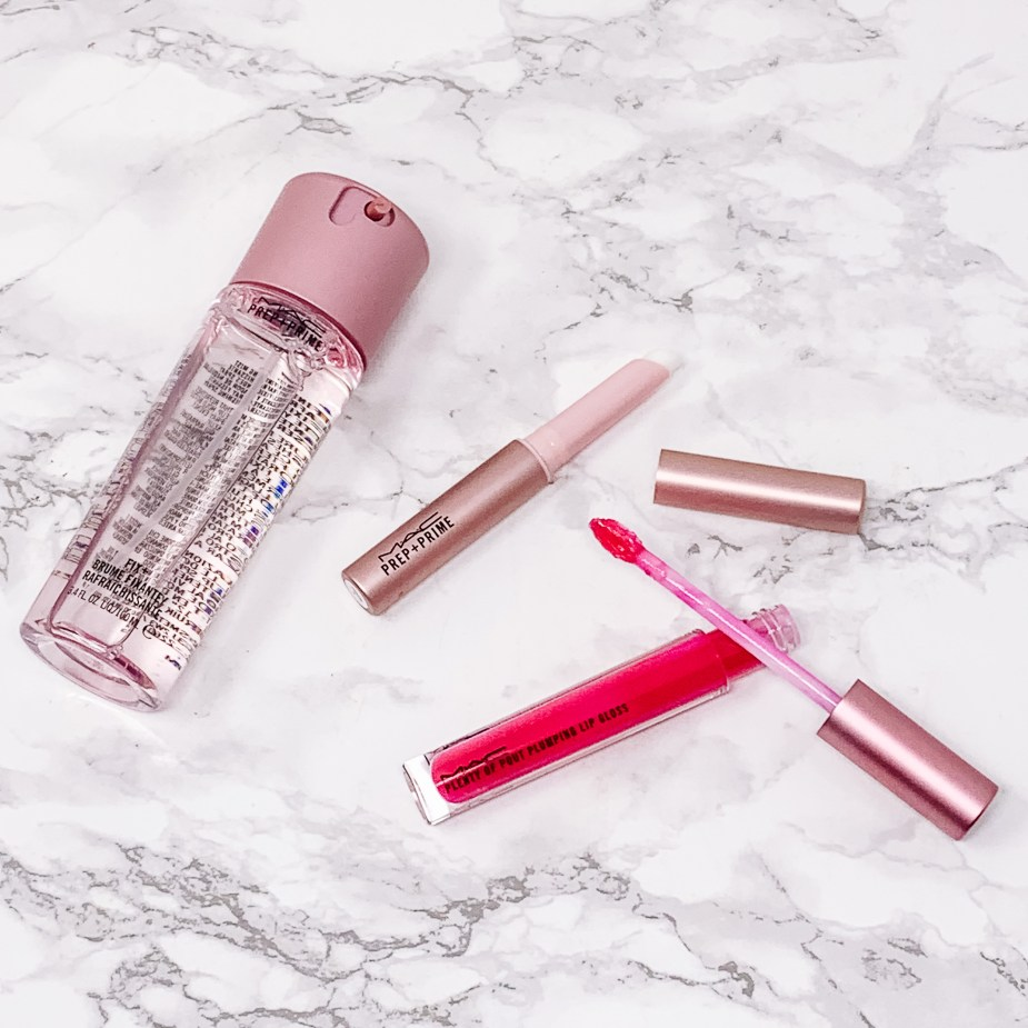 MAC Cosmetics Petal Power Collection - Prep + Prime Fix +, Prep + Prime Lip Primer, Plenty of Pout Plumping Lip Gloss