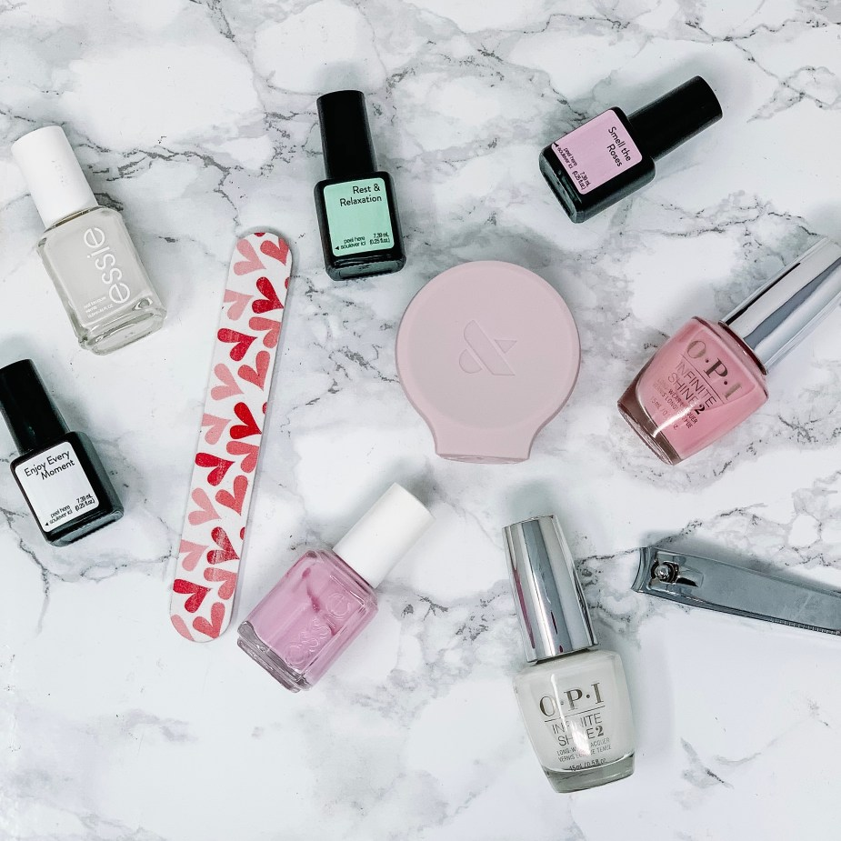 5 Simple Steps For An At Home Spa Night -Sensational Smell The Roses, Sensational Rest & Relaxation, Sensational Enjoy Every Moment, OPI White Nail Polish, OPI It's A Girl Pink Nail Polish, Essie Marshmallow Nail Polish, Essie Pink Nail Polish, Olive & June Poppy, Ulta Nail File, nail clippers