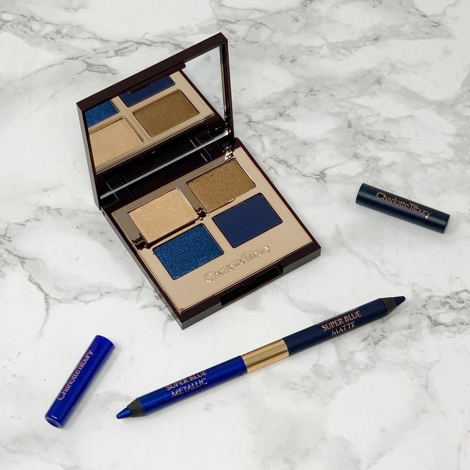 Charlotte Tilbury Super Blue Eyeshadow Palette and Eyeliner Review