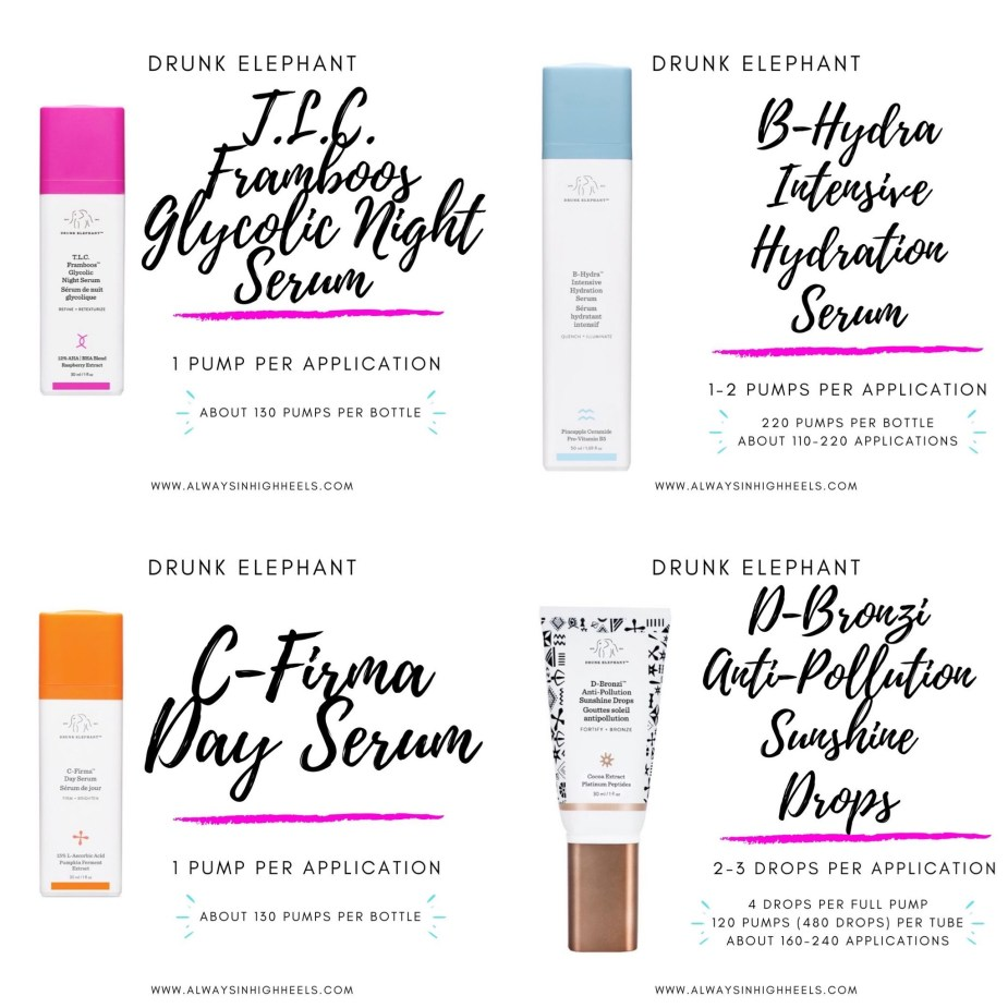 how long do drunk elephant products last. how long do drunk elephant serums last. C-Firma Day Serum, T.L.C. Framboos Glycolic Night Serum, B-Hydra Intensive Hydration Serum, D-Bronzi Anti-Pollution Sunshine Drops