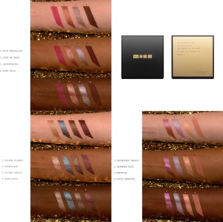 Pat McGrath Labs Celestial Divinity Luxe Quad Swatches - Risque Rose Swatches, Interstellar Icon Swatches, Fleur Fantasia Swatches