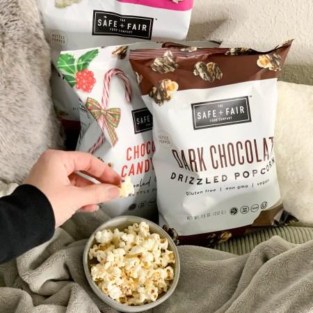 Safe and Fair popcorn review - Dark chocolaty, birthday cake, chocolaty candy cane