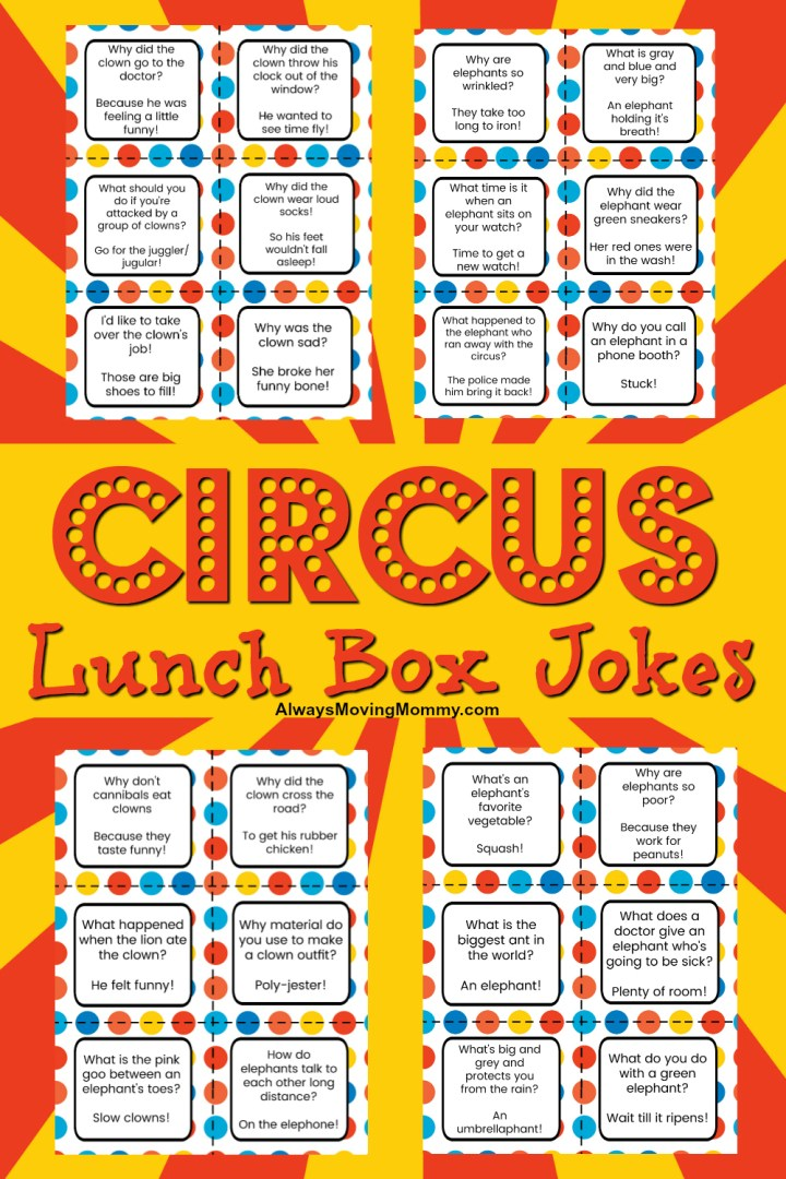 Free Printable Lunch Box Jokes with Circus Theme