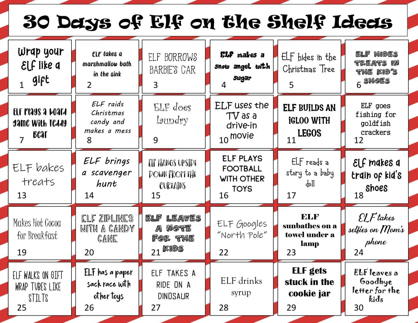 Free Printable Elf on the Shelf Idea Calendar | AlwaysMovingMommy.com