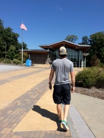 Here is his walking into the Blue Ridge Parkway Visitor's Center. He was a complete nerd in here.